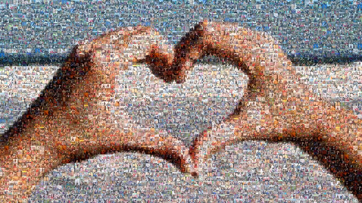 Picture Mosaics - Hand Heart Photo Mosaic