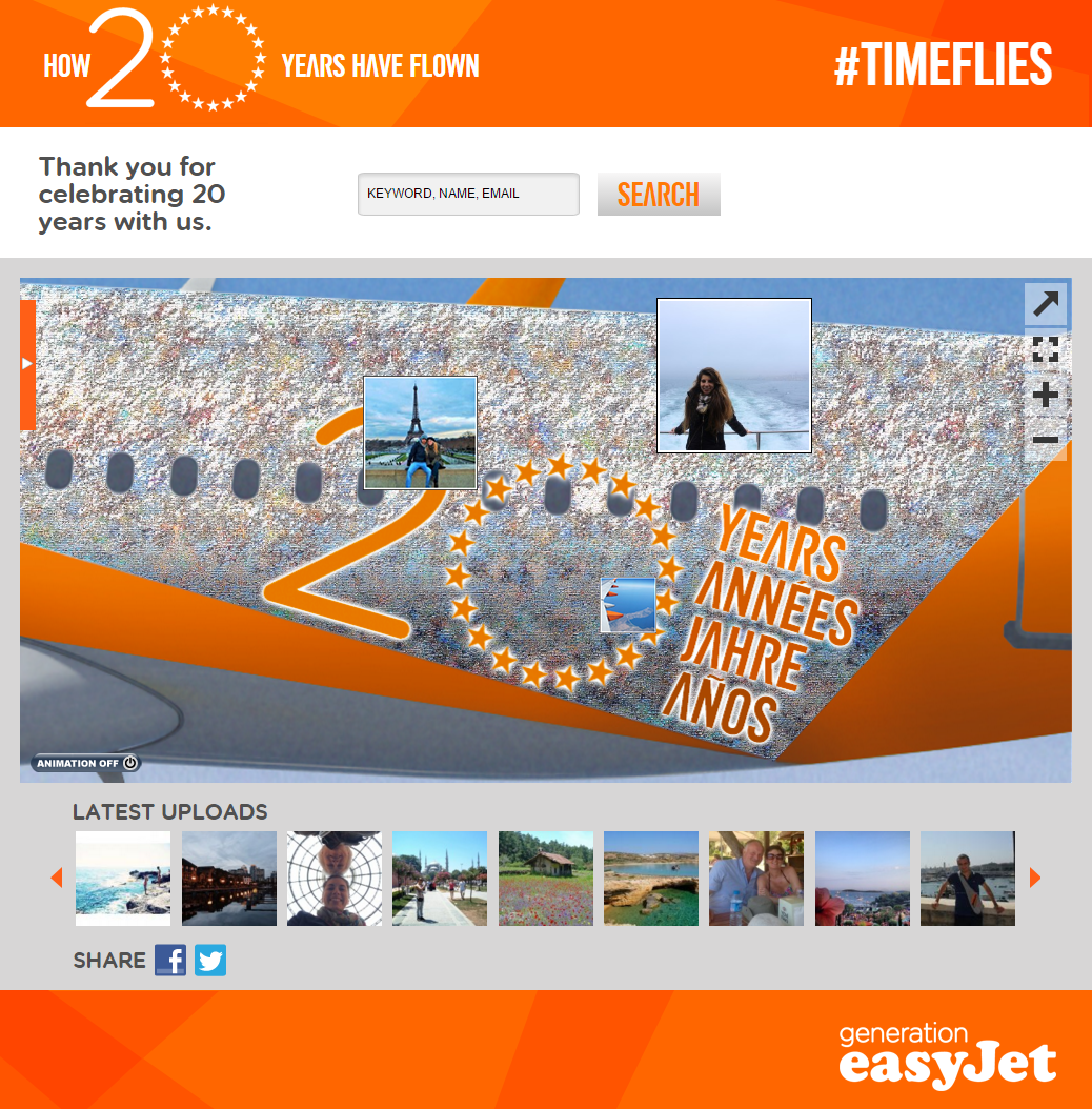 The easyJet 20th Anniversary Photo Mosaic
