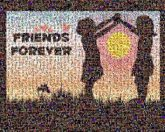 friendships forever girls people silhouettes graphics illustrations words text letters love hearts