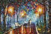 abstract parks walks scenery distant distance lights trees nature paintings