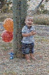 boy young toddler youth happy smile laughing balloons outside tree family faces distant distance