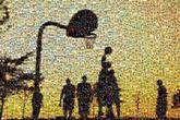 basketballs sports silhouettes sunsets people distant distance groups