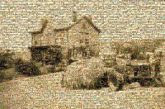 sepia vintage retro classic old time history heritage farms property land houses structures homes tractors