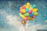 inspiration girls people faces distance clouds skies sky balloons uplifting