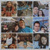 couple love collage travel vacation people faces multiple