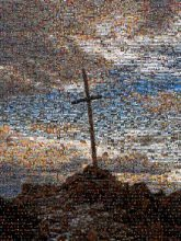 crosses symbols church religion religious mountains sky clouds silhouettes