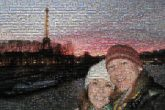 selfie together couple love smiling night skyline Paris France travel international vacation sightseeing