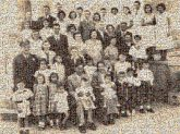 family people group distant distance oldtime reunion black and white