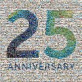 25 years anniversary celebration commemorate text letters numbers simple graphic