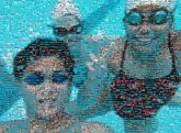 underwater swimming goggles people friends faces portraits selfies pools groups