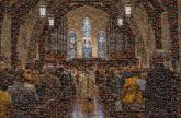 congregation church Catholic Christian religious cathedral aisles priests people group mass