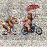 cartoons bears animals bikes bicycles art