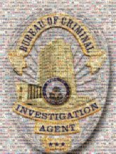 badges crests logos shapes ribbons text words letters criminal investigation public safety agents portraits buildings graphics stars credentials