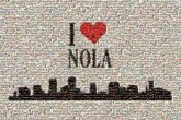 NOLA text words graphics logos love hearts symbols icons city cities skyline silhouettes letters pride