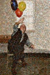 party balloons retirement people faces portraits person man distant distance