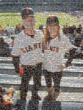 Dad, daughter, father, baseball, crowd, dugout, parent, papa,  old man, stands, giants