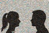 silhouettes couple faces graphic illustration profile people