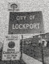 city lockport location destination sign words text fonts black and white old