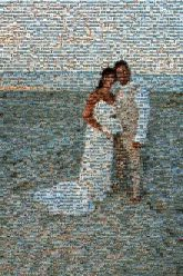 beach weddings married marriage couples love people faces distant full body