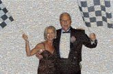 indy 500 couples people faces formal racing checkers checkered flags man woman