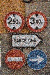 Barcelona road signs arrow family vacation trip