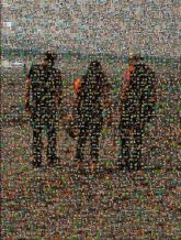 beach people full body distant distance friends group