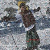 skiing mountains winter people faces full body