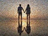 silhouettes sunsets beaches vacations travel reflections people couples love man woman holding hands honeymoon