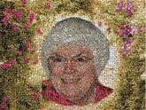 flowers portrait faces woman memorial