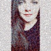 Edged margin portrait close-up mosaic photo faces people girl woman female