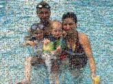 family people groups children swimming vacation summer faces distant