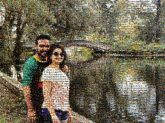 portraits distance poses couples together people person women men faces smiling nature outdoors lakes ponds trees parks bridges