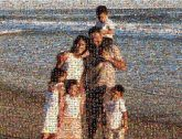 family group faces people distance distant beach ocean water sand vacation trip