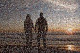 couples sunsets love beaches skylines silhouettes people distance