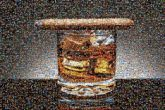 whiskey cigar drinks glasses alcohol classic still life