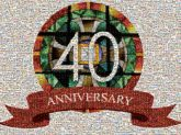 40 years anniversary anniversaries banners ribbons stained glass churches religions religious crosses symbols words text letters milestones celebrations