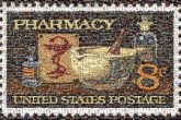 pharmacy stamps postage united states words text letters medicine schools education medical collectors collecting