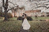 husband wife bride groom outdoors weddings marriage married man woman distance distant faces portraits formal