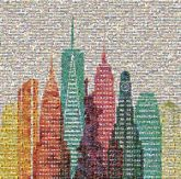 shapes colors cities city skylines artistic statue of liberty new york city