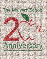 malvern schools 20th anniversary milestones education learning apples logos graphics lines