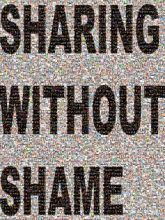 sharing without shame text words letters bold organizations simple