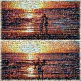 borders diptych silhouettes sunsets beaches ocean water sun people person man woman couples love