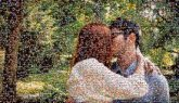 kissing couples people love faces outdoors portraits man woman
