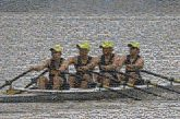 Quad rowing team athlete sport boat ore balance