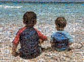 shore boys sand ocean vacation sibling
