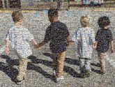 kids students preschools toddlers children distance figures friends walking shadows