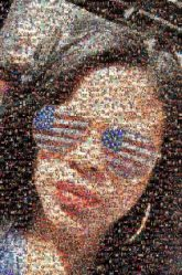 portraits woman person people sun glasses patriotic faces close