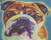 bulldog stylized pets animals mascots artwork paintings drawings illustrations colorful portraits