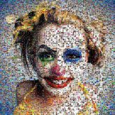 Clown Joker Evil clown Harley Quinn Face Head Nose Yellow Performing arts Fun Smile Eyelash
