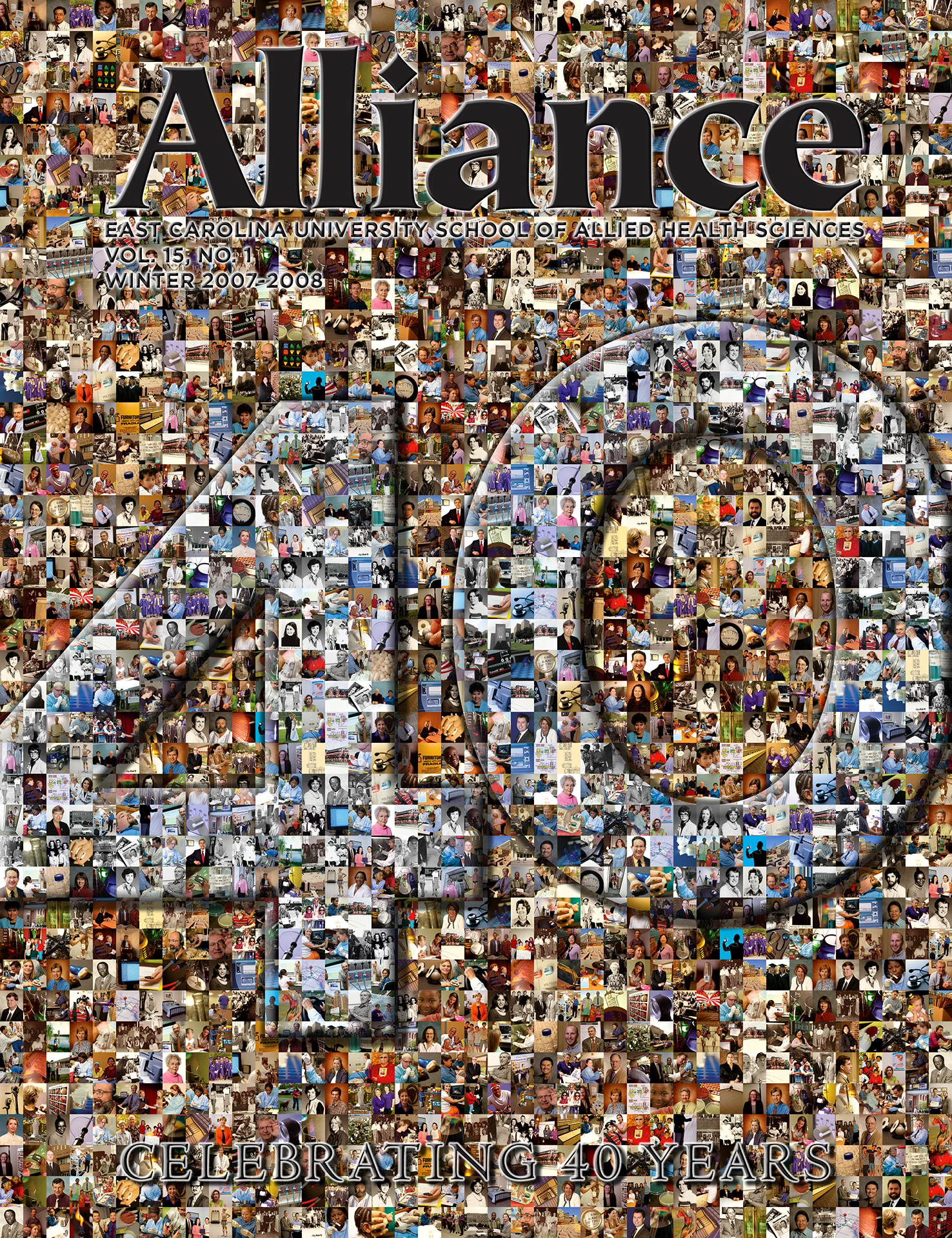 photo mosaic created using 403 images through out the 40 years of Alliance Magazine